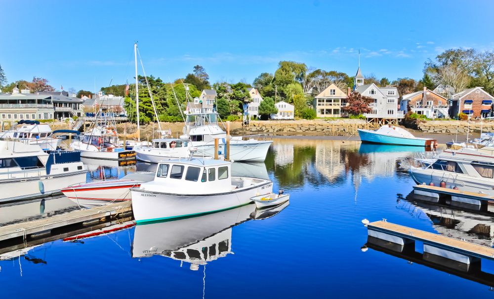 Sail boats and yachts in the marina in Kennebunkport Maine