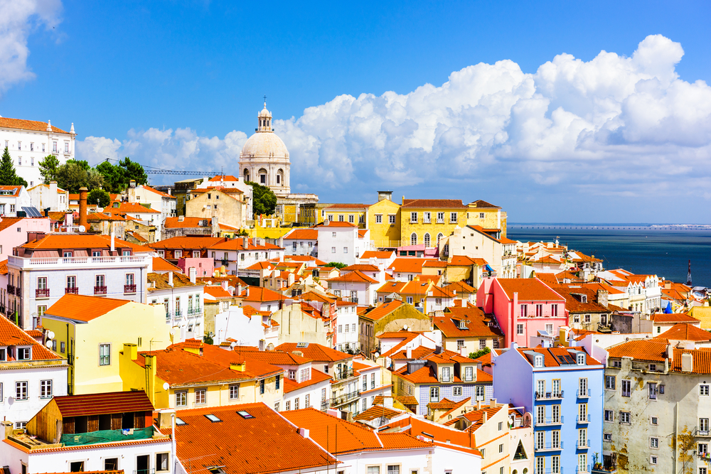 The Lisbon cityscape on a sunny day one week in Europe