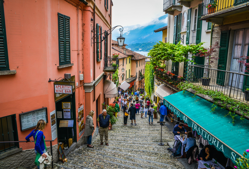 The streets of Lake Como with the Lake in the background