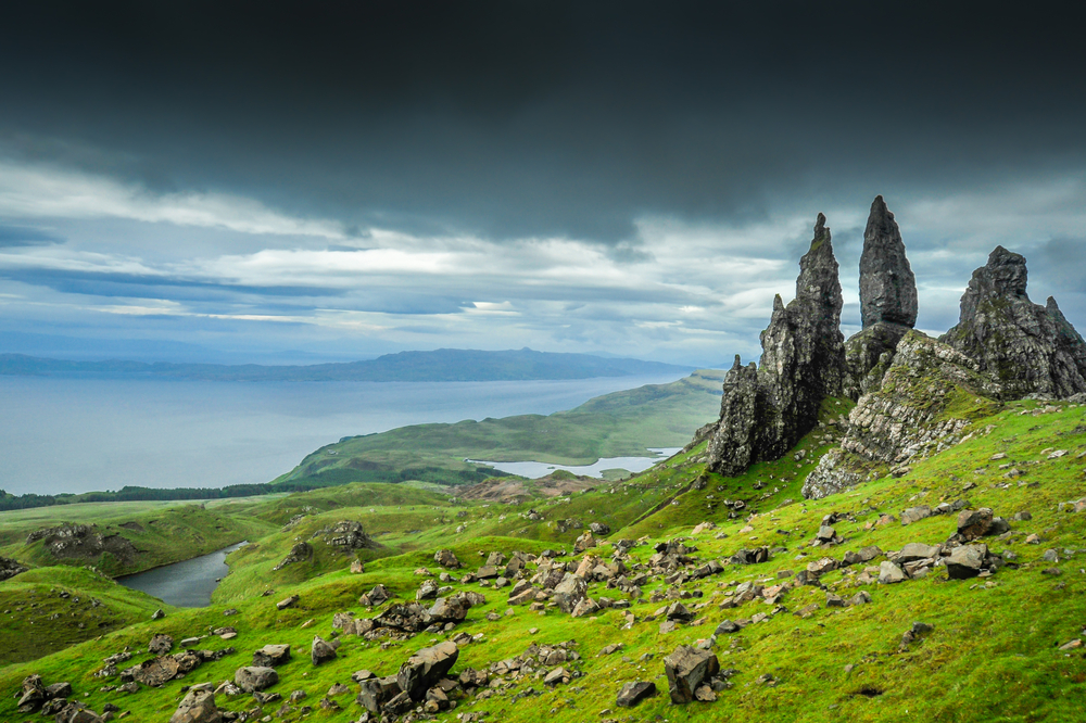 The landscape of the Scottish Highlands on an overcast day