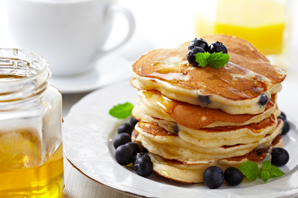 blueberry pancakes are offered at Tia Sophia's which is one of the best restaurants in Santa Fe