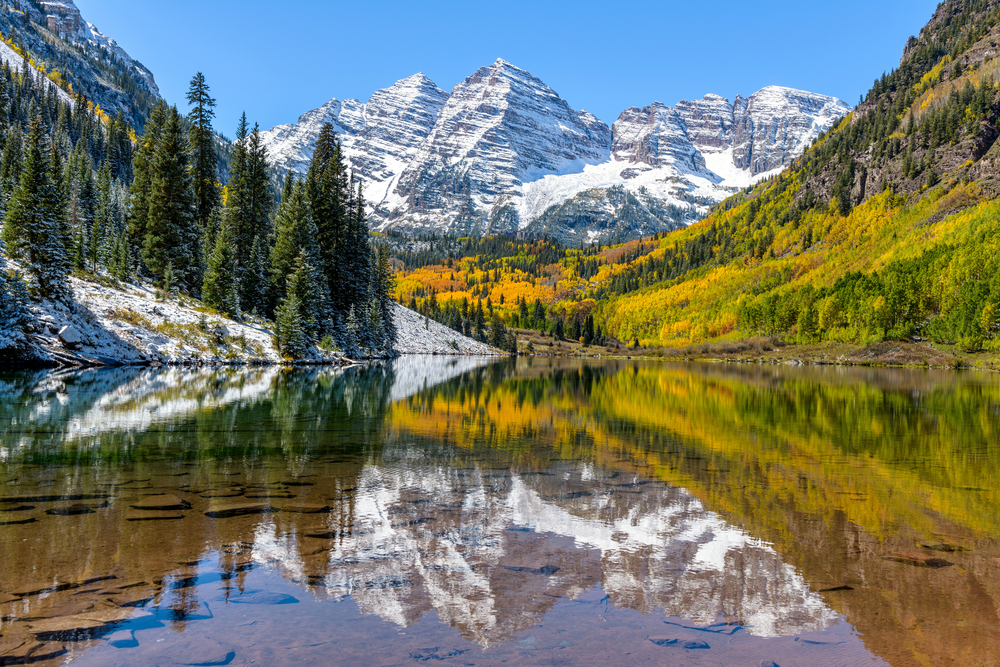 A mountain landscape in Colorado on a sunny day
