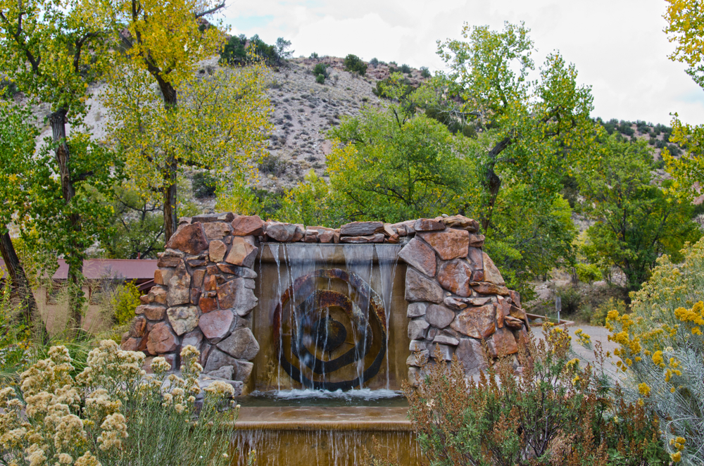 the front entrance of Ojo Caliente Hot Springs which is one of the best New Mexico hot springs