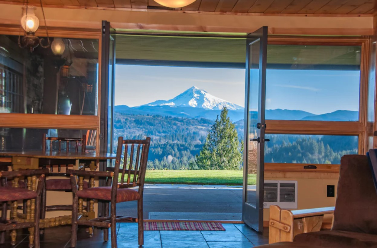The view through double French doors looking out at Mt. Hood in Oregon