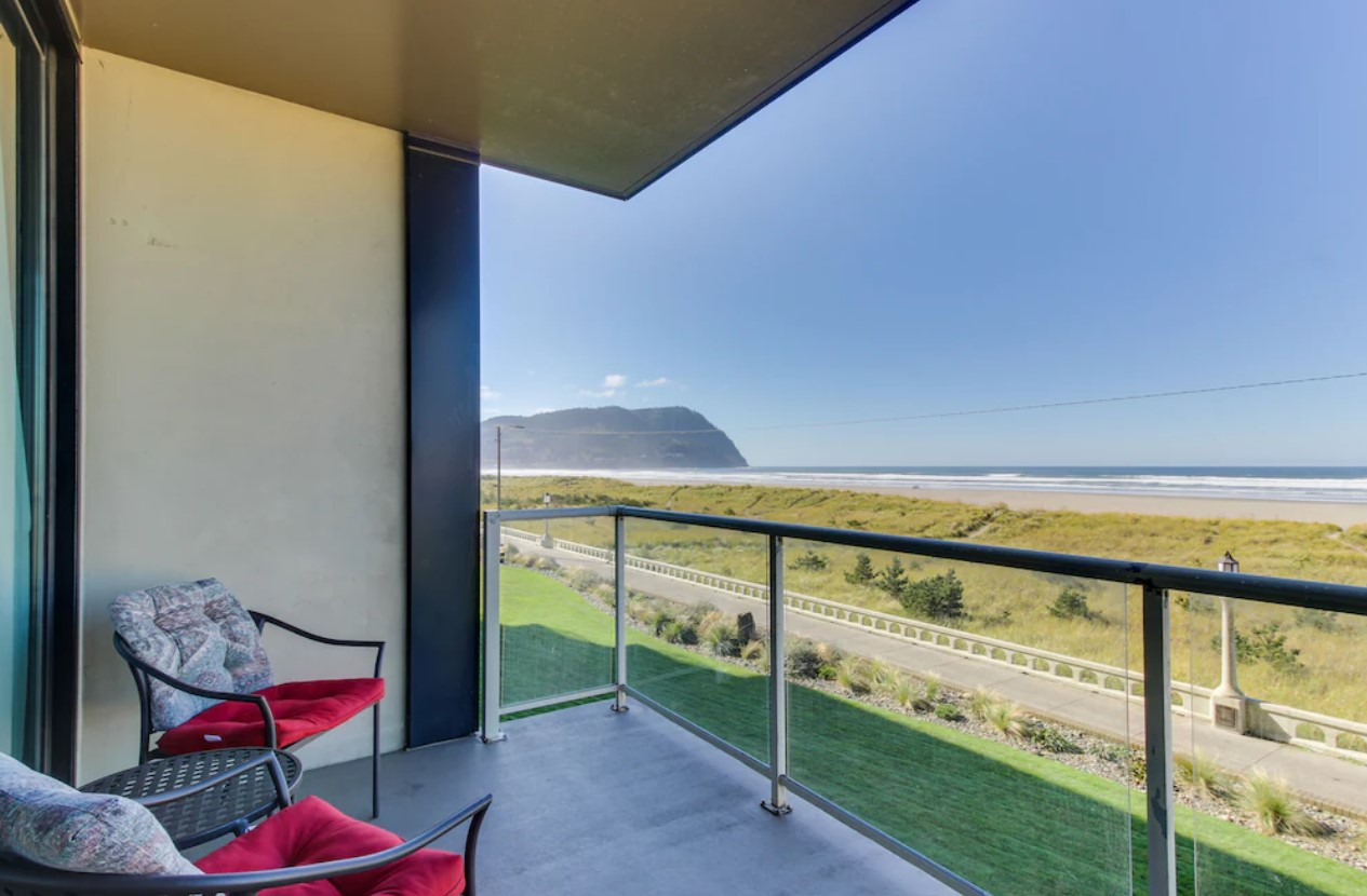 The view from your private patio at a condo in Seaside that has an expansive view of the Pacific Ocean