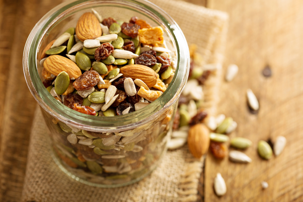 Nuts and seeds are a healthy road trip snack.