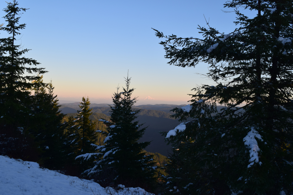 The view of Mt. Hood and the Cascade range from a very snowy Kings Mountain summit, one of the best hikes in Oregon.