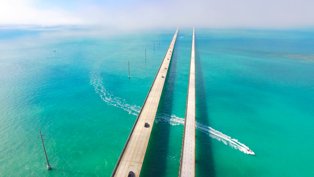 The famous Seven Mile Bridge in Florida that connects to the Florida Keys one of the best weekend getaways in the USA