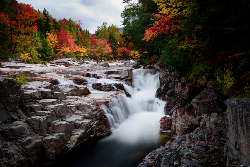 the Rocky Scenic Gorge in New Hampshire which is a waterfall. next to the river and gorge are trees with leaves changing colors. The leaves are yellow, red, and orange.