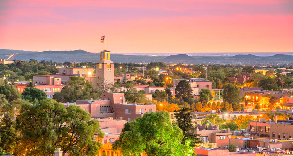 santa fe at sunset for a weekend getaway in the USA