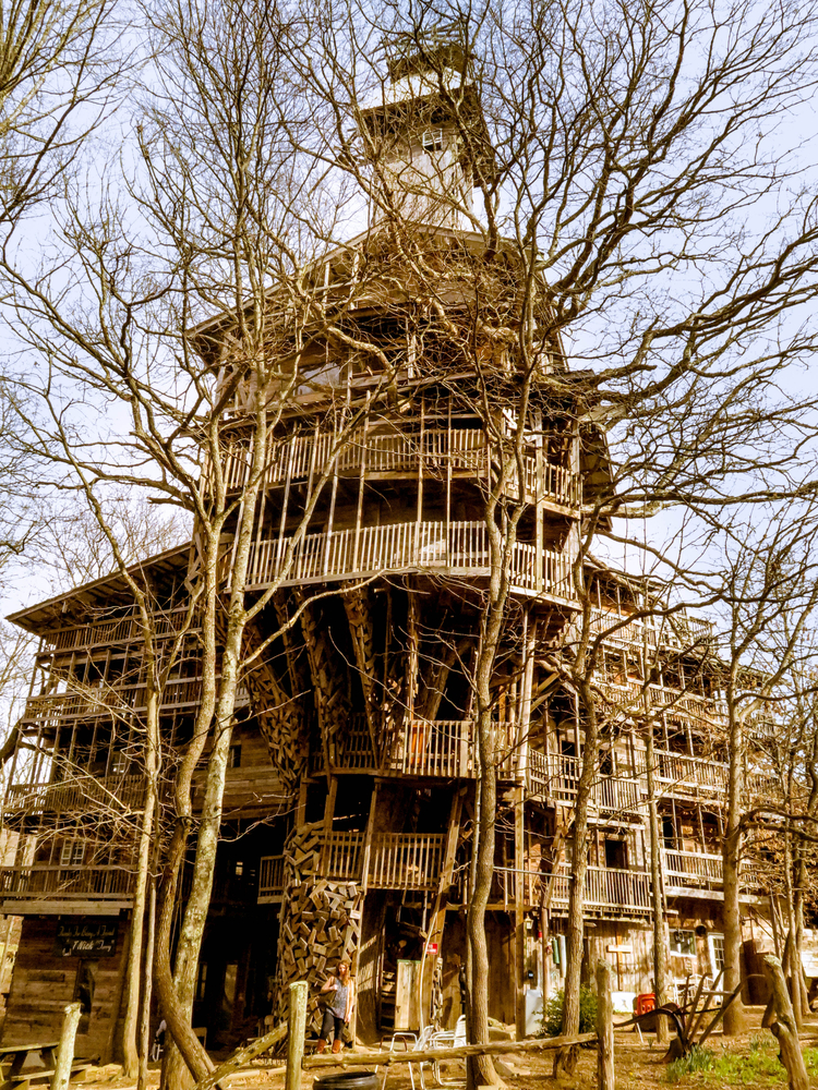 A large wooden treehouse structure that has been abandoned for years. It is haphazardly put together making a very eclectic building and treehouse.
