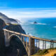 The view of Bixby Bridge with the Pacific Ocean in the back ground. It is the most popular stop on a Big Sur road trip.