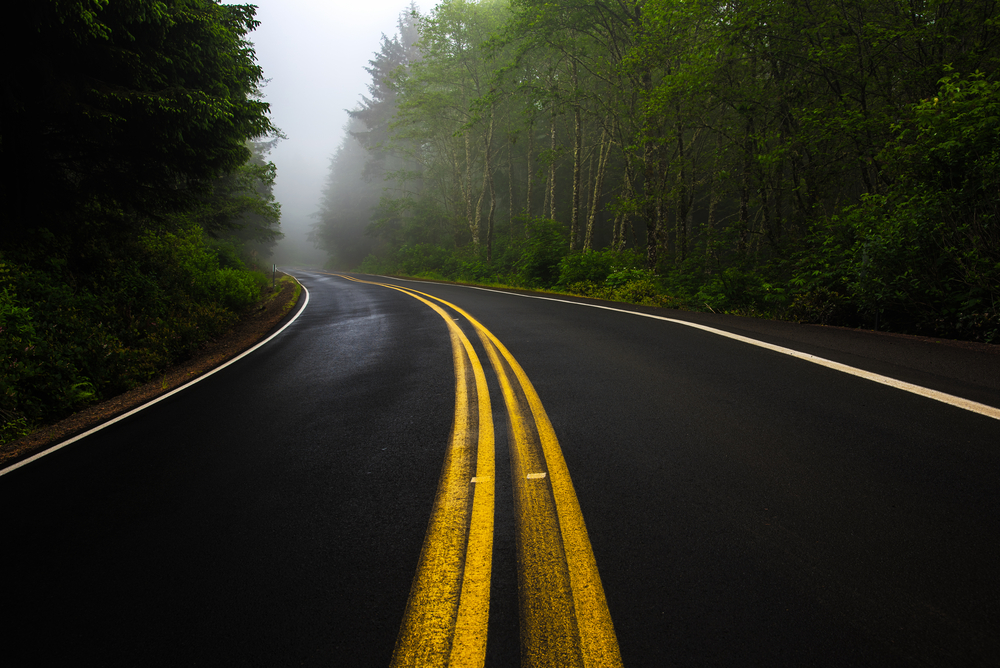 A moody road in Oregon. It is surrounded by a lush green forest and there is fog in the air.