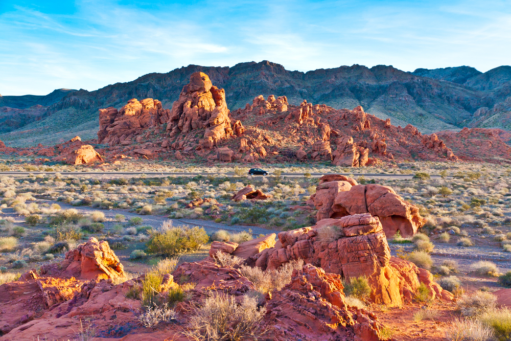 driving past the red rock formations as you make your way through the park