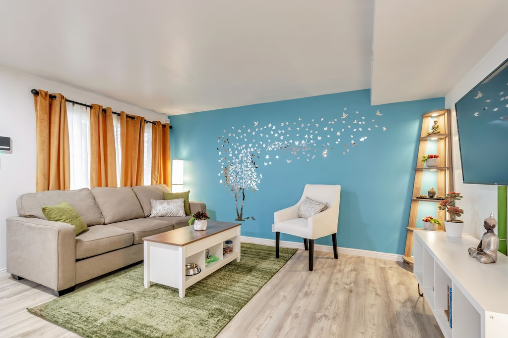 Photo of the zen blue and green living room of the Apartment near the Capitol.